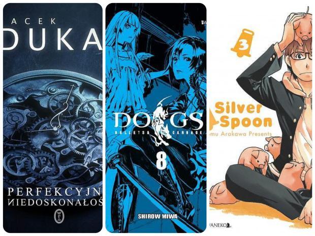 """4. """"Perfekcyjna niedoskonałość"""" J. Dukaj 5. """"Dogs. Tom 8"""" S. Miwa 6. """"Silver Spoon. Tom 3"""" H. Arakawa"""