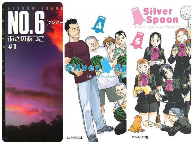 """7. """"No.6. Tom 1"""" A. Asano, H. Kino 8. """"Silver Spoon. Tom 4"""" H. Arakawa 9. """"Silver Spoon. Tom 5"""" H. Arakawa"""