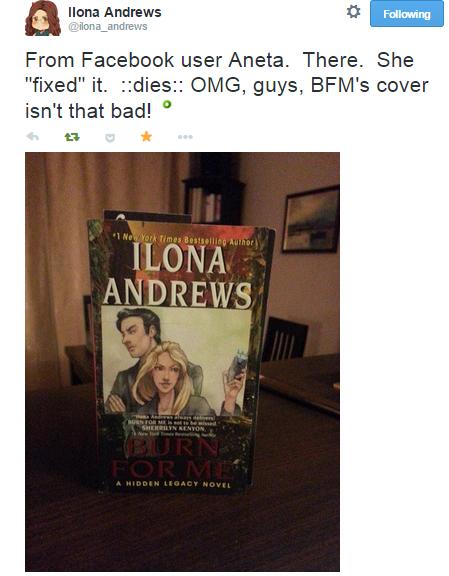 """Z Twittera Ilony Andrews: """"Od użytkowniczki z Facebooka, Anety. """"Poprawiła"""" ją. *umiera* OMG, ludzie,  okładka BFM nie jest taka zła!"""""""