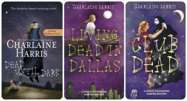 Okładki amerykańskiego wydania serii o Sookie Stackhouse autorstwa Charlaine Harris. Tomy 1, 2 i 3.