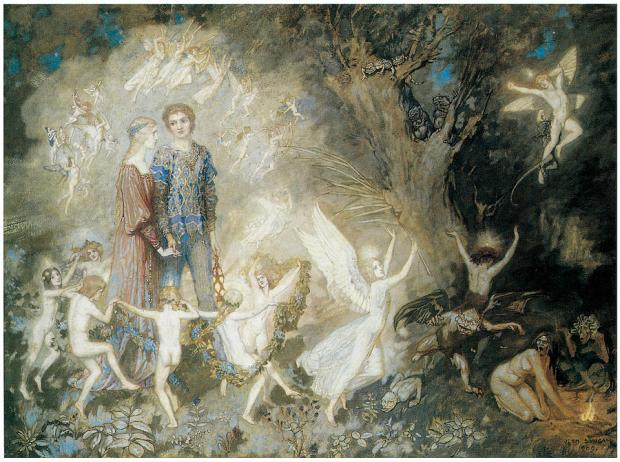 John Duncan, 1909, Yorinda and Yoringel in the Witches Wood
